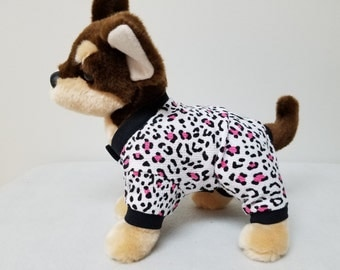 Dog Clothes Cheetah Pajamas, Chihuahua, Yorkie
