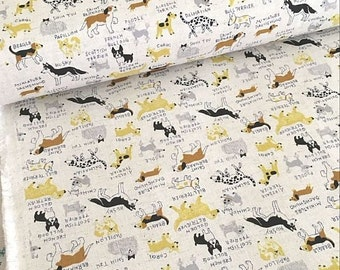 Japanese Fabric Kokka Cotton Linen Blended - Little Dogs