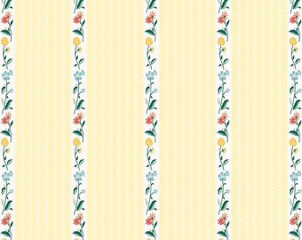 Bunnies and Cream, By Lauren Nash Bunnies Stripe Yellow C6023-Yellow