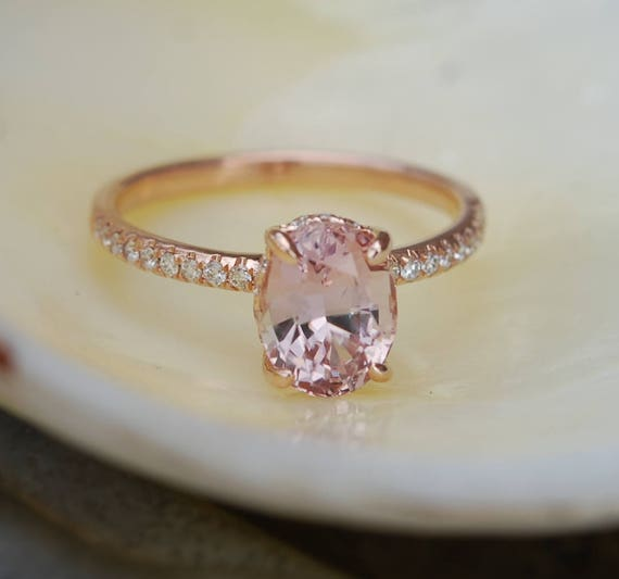 Blake Lively ring Peach Sapphire Engagement Ring oval cut 14k rose gold diamond ring 2.31ct Peach sapphire ring by Eidelprecious