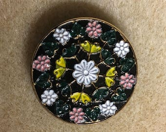 Large Black Flower Designed Button Czech Glass Black with White Pink Yellow Flowers 32mm