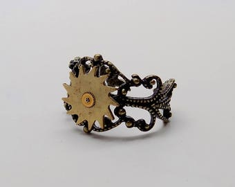 Steampunk jewelry . Steampunk gears adustable ring.