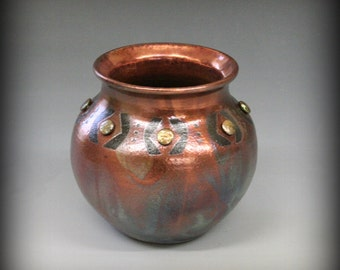Raku Pot with Pearl Beads in Metallic Iridescent Colors