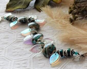 Sale.....One of a Kind  Sterling Silver, Lampwork Glass, Czech Glass and Swarovski Crystal Bracelet