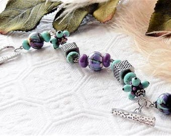 Sale.....One of a Kind Sterling Silver, Lampwork Glass and Czech Glass Bracelet