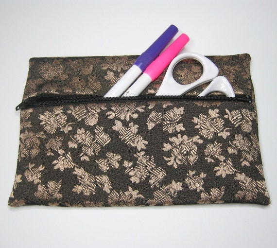 SQUISHYBAG: brocade pencil case, make-up or cosmetics bag.  Fully lined.