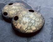 Vintage Beads, Etched Pendant, Carved Pendant, Flower Pendant, Ombre Beads, Boho Chic, Boho Beads, Unique Pendant, Burnt Edges, 2 Pendants
