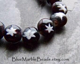 Star Beads, Celestial Beads, Stellar Beads, Lentil Beads, White Star Beads, Unique Glass Beads, 16 Inch Strand, 49 Beads, 9mm, 1 Full Strand