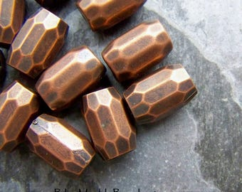 Vintage Beads, Copper Beads, Lucite Beads, Barrel Beads, Faceted Beads, 12 Beads