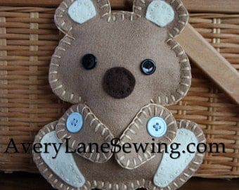 AveryLane Hand Sewing Project Felt Bear Stuffie PDF Pattern