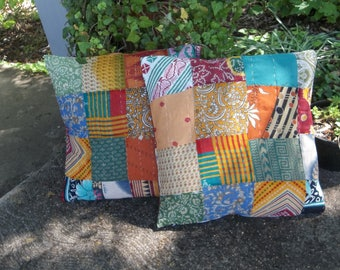 Pair Kantha Quilt Pillows Boho Pillow Shams Vintage Quilt Pillow Covers