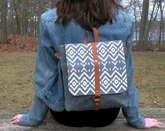 Crossbody Bag, Backpack, Convertible Purse, Travel Bag, Waxed Canvas Messenger, Canvas and Leather bag, Tribal Print Bag, Grey Waxed Canvas