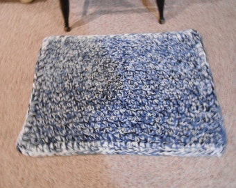 Blue variegated yarn rag rug: washable, handmade, rectangle.