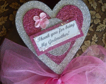 FURTHER REDUCED - Thank You For Being My Godmother Heart Wand