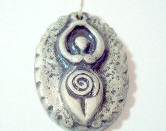 Black and Silver Earth Goddess Pendant