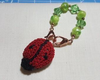 Beaded Scissor Fob with Crocheted Lady Bug Pin Cushion Stylish Scissor I.D.