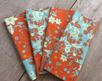 Reversible Fabric Dinner/Luncheon Napkins, 100% cotton, set of 4, handmade in Maine