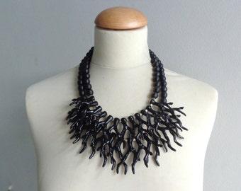 Black coral branch necklace, black  coral branch statement