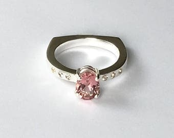 Silver Pink Tourmaline and White Sapphire Gemstone Ring Size 7