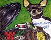 30% off Chihuahua at the Cook Out Dog Art TILE Coaster JSCHMETZ modern abstract folk pop art american ART gift
