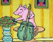 30 Off Pig Playing Cello Animal Art Tile Coaster Gift