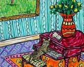 30 Off bengal cat Art -cat art- cat Print  poster, gift,piano,piano art, modern folk art,modern cat art,