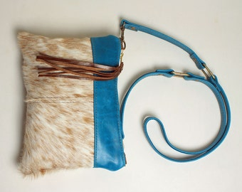 Mini Cross body Purse in Winter Blue Leather with Removable Strap Clutch Bag in Brown and Creamy White Hair On Cowhide Leather