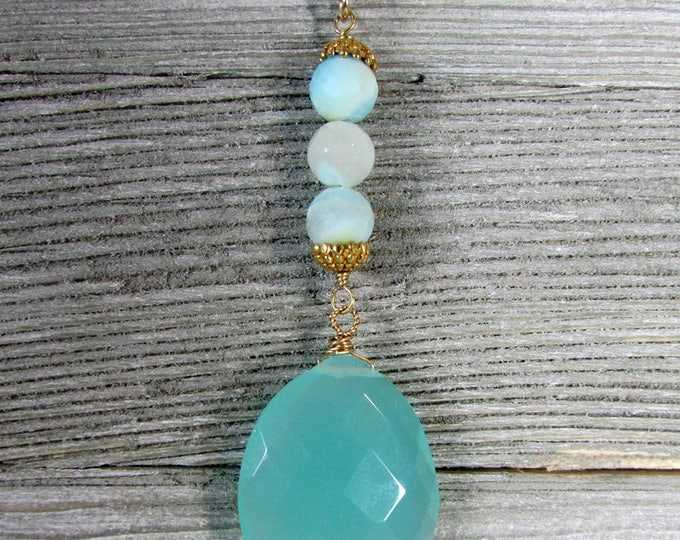 Chalcedony & Peruvian Opal Long Necklace, Light Blue Green Chalcedony Pendant, Gold Pyrite Chain Necklace