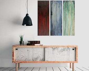 "Abstract painting 36"" large square painting original art red blue green painting on canvas wall art wall decor wall hanging by qiqigallery"