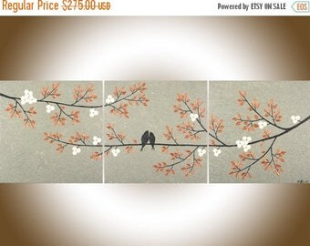 """Copper art copper home decor 48"""" Original painting love bords painting wall decor home decor palette knife """"Harmony III"""" by QIQIGALLERY"""