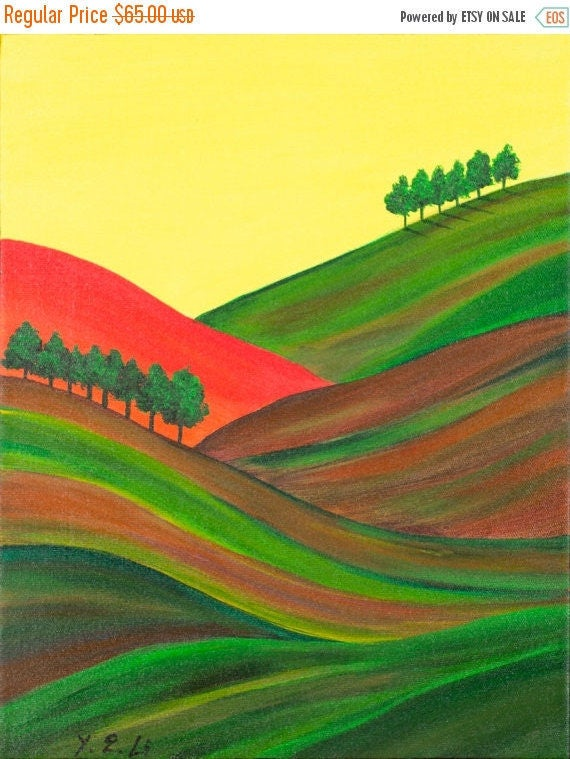 """Contemporary landscape painting wall art wall decor painting on canvas Original artwork oil painting """"Autumn Hills"""" by QIQIGALLERY"""