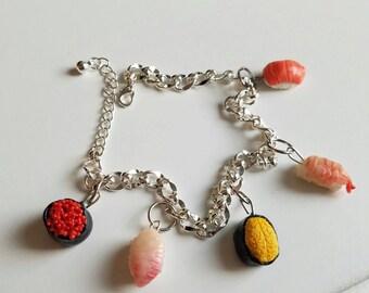 Sushi Charm Bracelet, Polymer Clay Jewlery, Miniature Food READY To SHIP