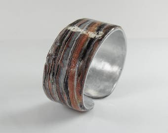 Polymer clay and aluminum cuff bracelet, adjustable