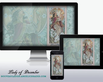 Lady of December Art Nouveau Turquoise and White Narcissus Mucha Inspired Birthstones Birth Flowers Wallpapers for Desktop, Phone, & Tablet