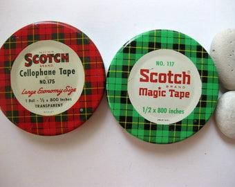 Two Vintage Scotch Tape Tins, No 117 and No 175, Green Plaid and Red Plaid Tins
