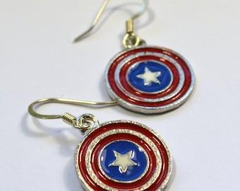 Captain America Shield Geeky Dangle Earring Nickel Free Wires