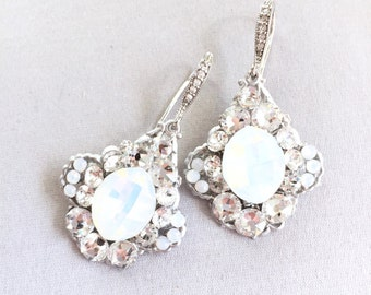 Opal Rhinestone Wedding Earrings, Swarovski Bridal Jewelry, Bridal Earrings, couture handmade rhinestone bridal earrings - Gatsby style 3