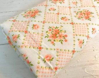 1.2 Yards Vintage Lightweight Flannel Fabric with Bright Orange Floral Design