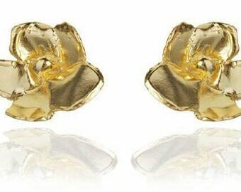 Bloom 18kt Gold over Sterling Silver Large Flower Post Earrings