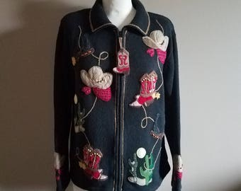 Cowboy and Cactus Themed Cardigan