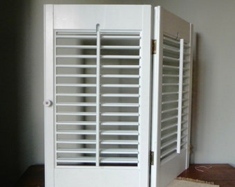 Vintage wood shutters - adjustable - two joined panels mint green very light green for decor or display Two available
