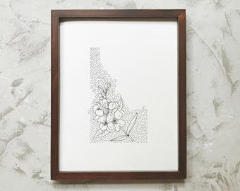 Idaho> Syringa > State Flower Drawing> Giclee Print