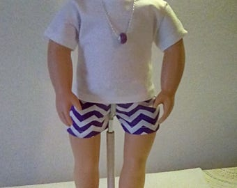 """18"""" Doll Clothes- FOUR  Piece Cotton Short Set, White top, PURPLE Zig Zag shorts, Necklace, Sandals,  Ready to ship, FREE Shipping in USa"""