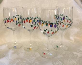 Holiday lights wine glasses