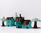Miniature houses decoration Turquoise Houses with tree  Room Decor  Children decorations Housewarming gift Sweet Home
