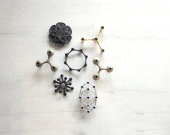 Silver Nagel Stacking Modular Atomic Candle Holders (Set of 2)