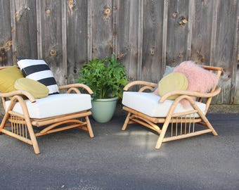 Midcentury Modern Rattan Lounge Chair