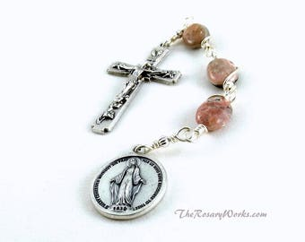 Three Hail Mary Marys Devotion Chaplet Miraculous Medal Pink Gray Rhodochrosite  Wire Wrapped Unbreakable Prayer Beads Gift Under 25