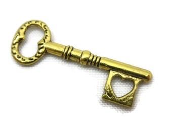 Gold Key Charm Pendant - Heart Cutout, Key to My Heart, 1pc