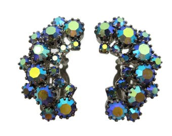 Blue AB Rhinestone Clip Earrings - 1950s Costume Jewelry Climbers